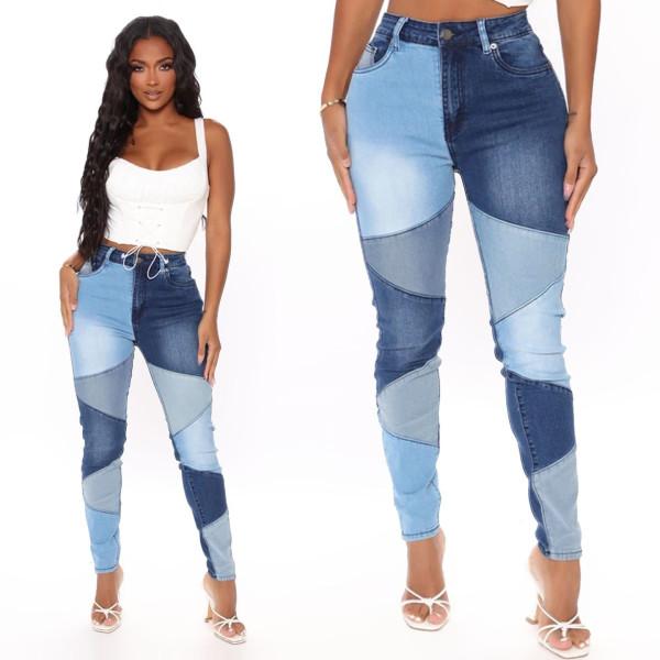 high waist demin patchwork pants 9079