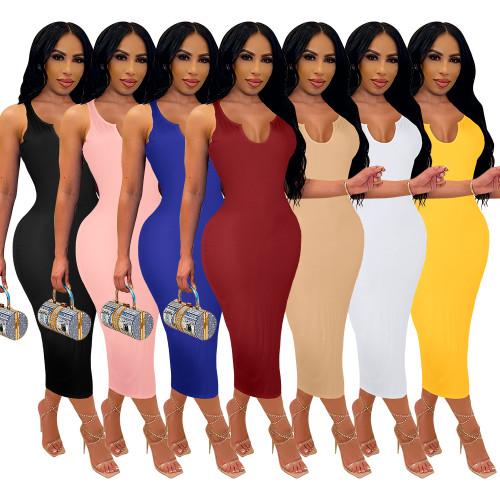 women v-neck dress P008