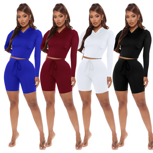 hooded jogger two piece short set 2659
