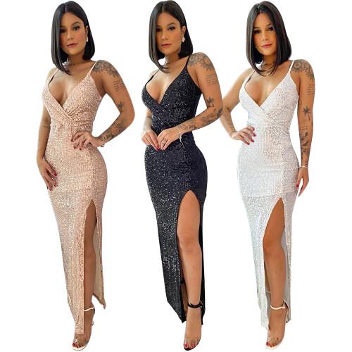 sexy v-neck split dress  S390207