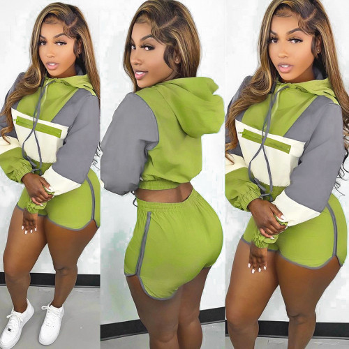 sexy hooded two piece short tracksuit S390211