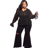 sexy flare plus size jeans 21076