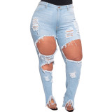 ripped  plus size jeans pants  21098