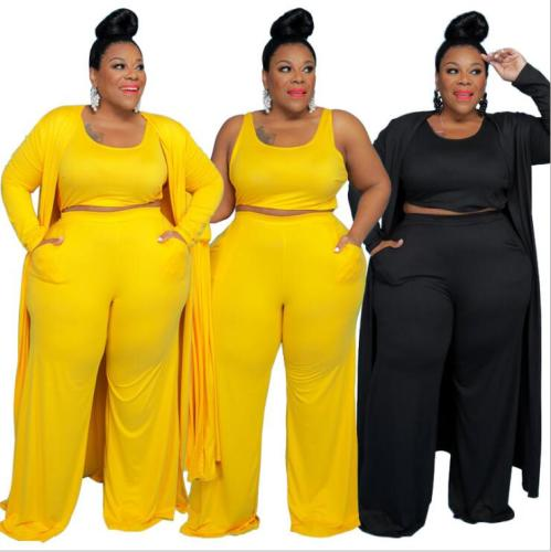 plus size three piece pants set 21275