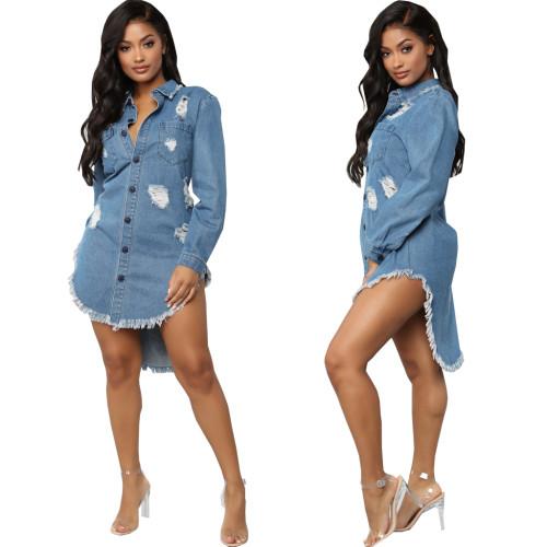 Sexy women demin jeans coat dress 10662
