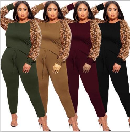 plus size two piece leopard pants set 21279