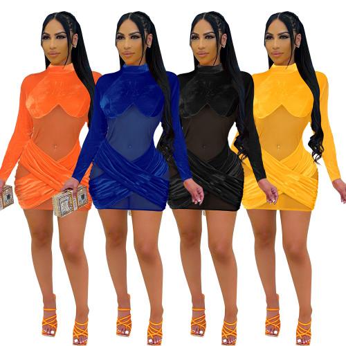 velvet mesh women dress H0141