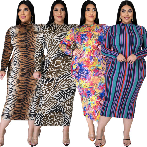 plus size long sleeve dress 10603