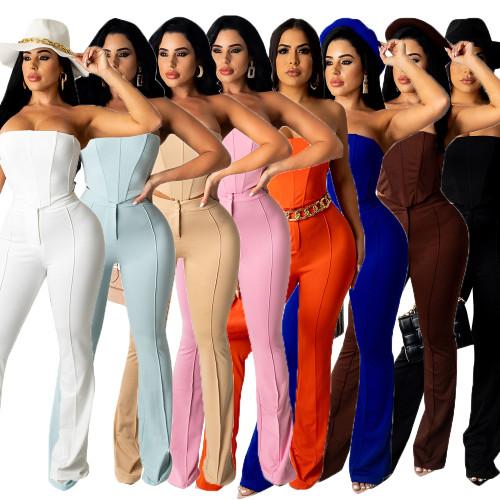 off shoulder two piece women pants suit CM2162