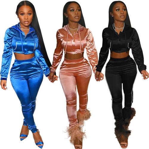 Women cropped pants set LD81069