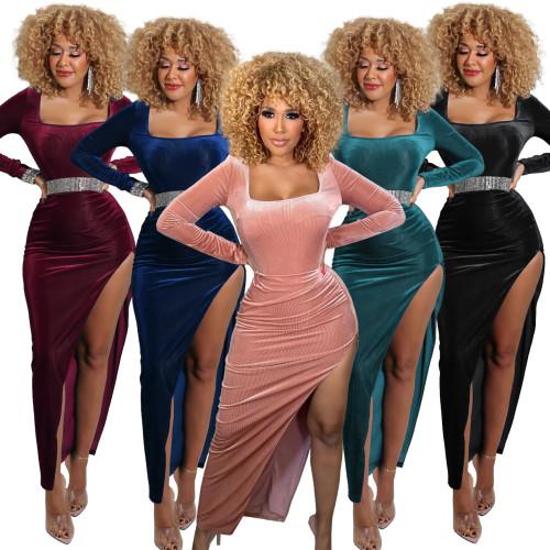 women velour maxi dress G0428
