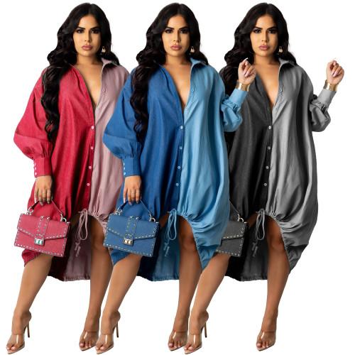 Women denim blouse dress G0422