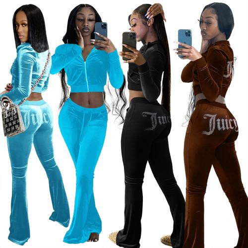 Women velvet pants setLD81062