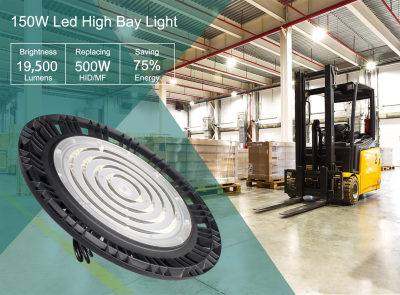 150W LED High Bay 1-10V Dim - 130LM/W - 19500 Lumens - 100-277VAC - 400W MH/HID Equivalent - 5000K