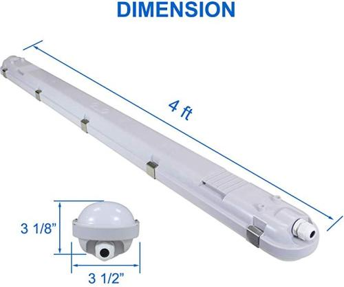 4FT - 40W LED Vapor Tight Fixture- 5200lm - 100-277VAC - 0-10V Dim - 200W MH/HPS/HID Equivalent - 5000K