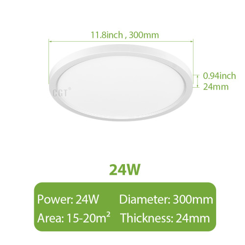 【2-PACK】Φ300*25mm 12'' 24W LED Ceiling Light 5-CCT Selectable -110LM/W -2640Lm -90-130Vac Triac Dimmable - ETL List