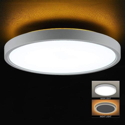 Φ300 12'' Φ400 16'' LED Ceiling Light Main Light 5-CCT Selectable Night Light 4W Amber 2000K -110LM/W -90-130Vac Triac Dimmable - ETL List