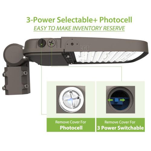 152W/200W/240W Power Switchable LED Parking Lot & Shoebox - Up to 180Lm/W - 100-277VAC - Type III - 1-10V Dim - Photocell - 5000K - ETL DLC Premium
