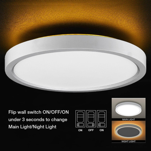 12'' 24W Flush Mount LED Ceiling Light Main Light 5-CCT Selectable Night Light 4W Amber 2000K -110LM/W -90-130Vac Triac Dimmable - ETL List