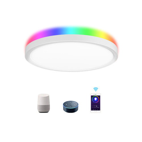 WIFI & Remote Control 12'' 24W Smart Flush Mount LED Ceiling Light Work with Amzon Alexa and Google Assistant - ETL listed
