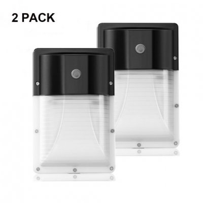 [2-PACK]13W Mini LED Wall Pack With Photocell- 1300 Lumens - 100-277VAC - 50W MH/HPS Equivalent - 5000K