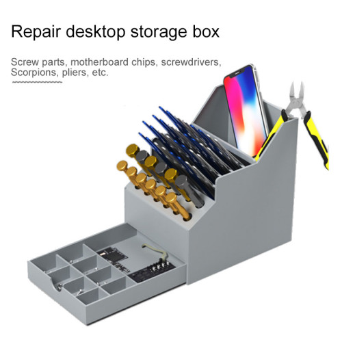 Multi-function mobile phone repair desktop finishing storage box Screwdriver component parts box With drawer toolbox