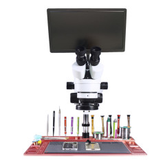 Mouse Control 11.6 Tablet PC Industrial Digital Microscopio Camera monitor 0.5 2X 3.5X 7X 45X 90X Continuous trinocular microscope