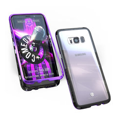 2nd generation two-color full cover double-sided glass magnetic metal frame Samsung mobile phone case