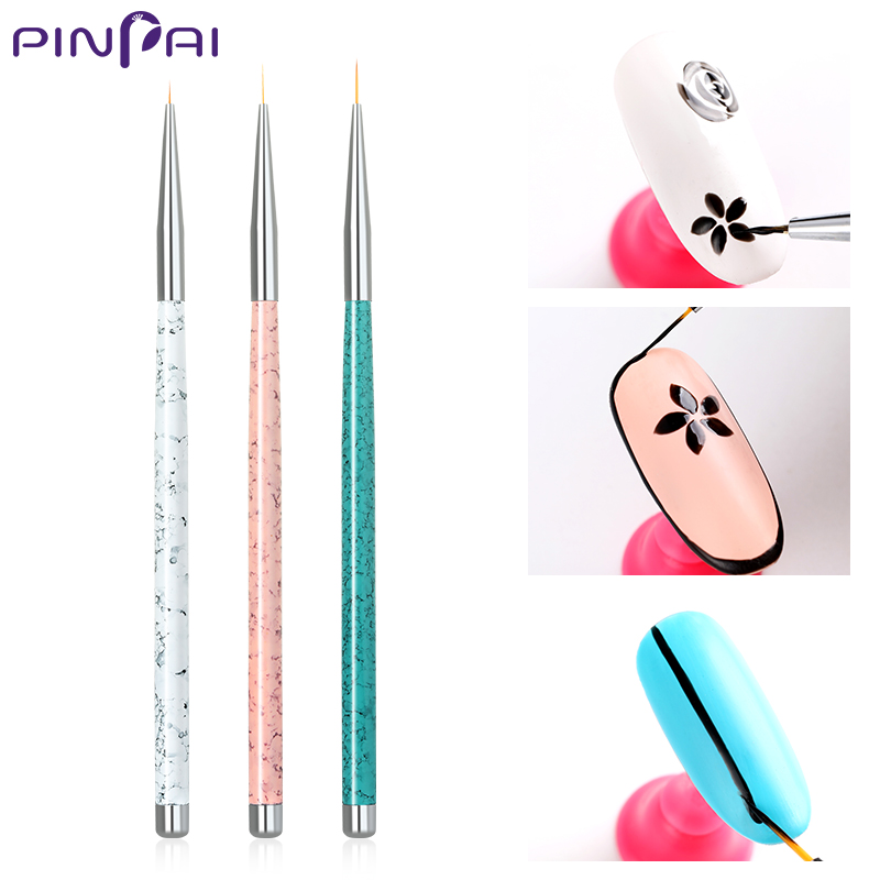 PinPai 3 PCS Set Nail Art Liner Painting Brush 5mm 8mm 11mm Nail Drawing  Dotting Brushes UV Gel Acrylic Manicure Nails Brush Pen