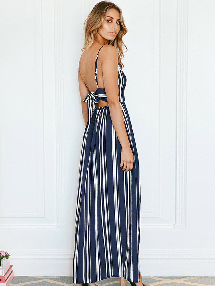 ZISION V-Collar Striped Maxi Dresses