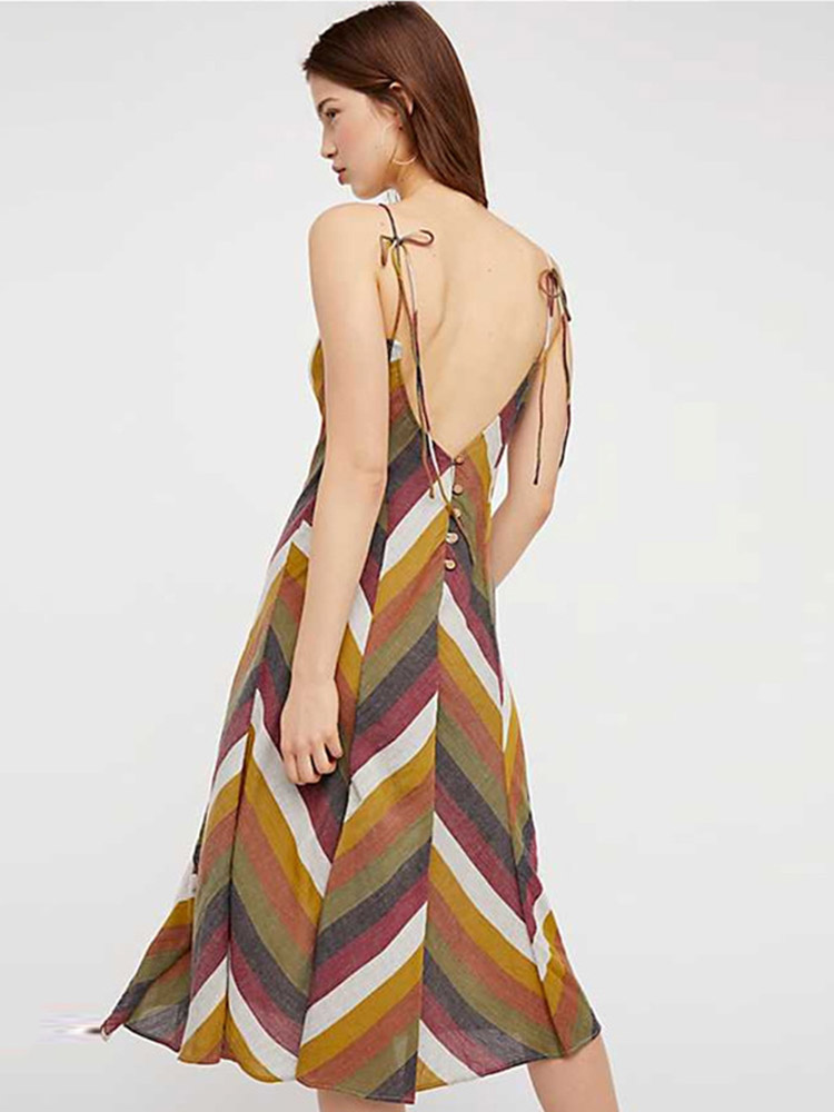 ZISION Backless Striped Midi Dresses
