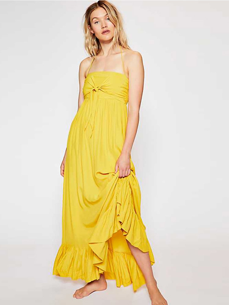 ZISION Halter Backless Maxi Dresses