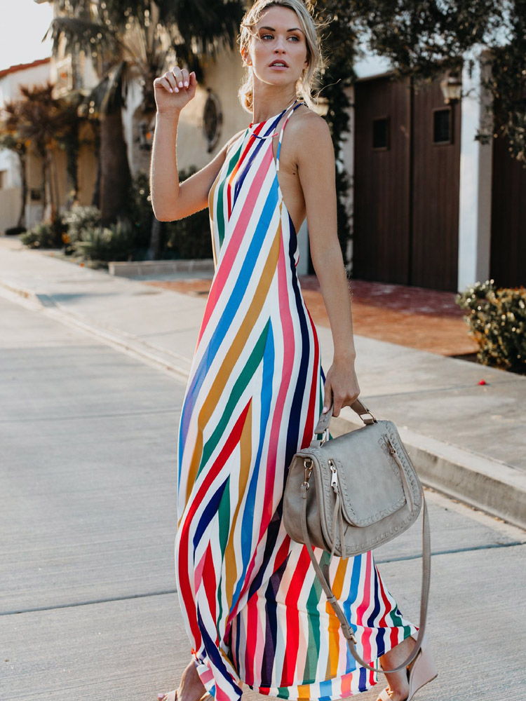 ZISION Halter Striped Maxi Dresses