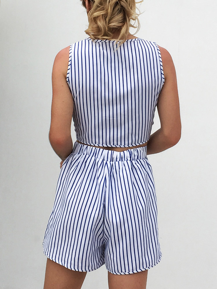 ZISION V-Collar Top And Striped Shorts Set