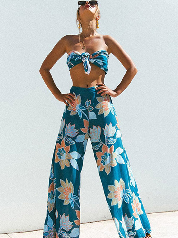 ZISION Bandeau Top And Wide Leg Pants Set