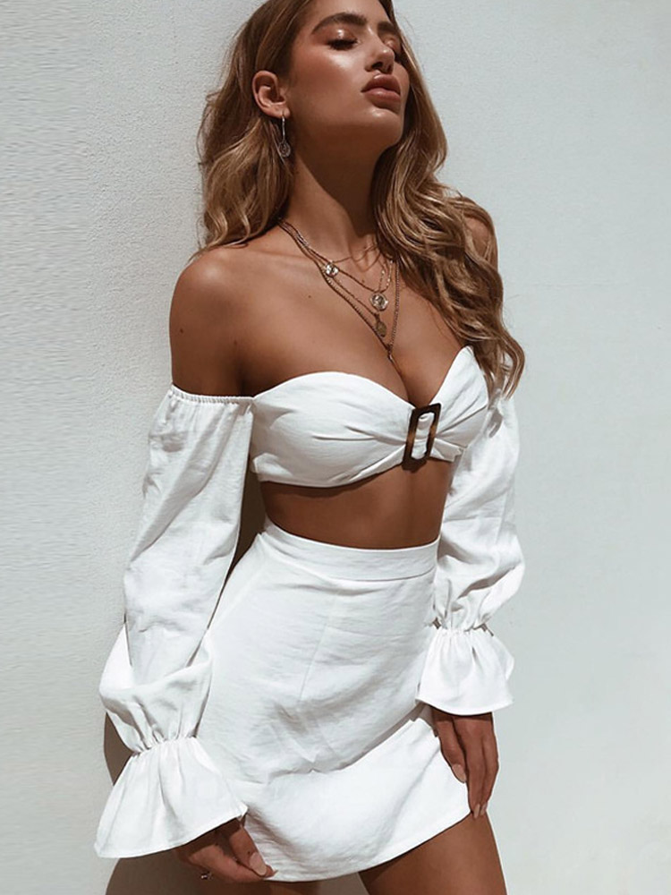 ZISION Off Shoulder Top And Solid Skirt Set