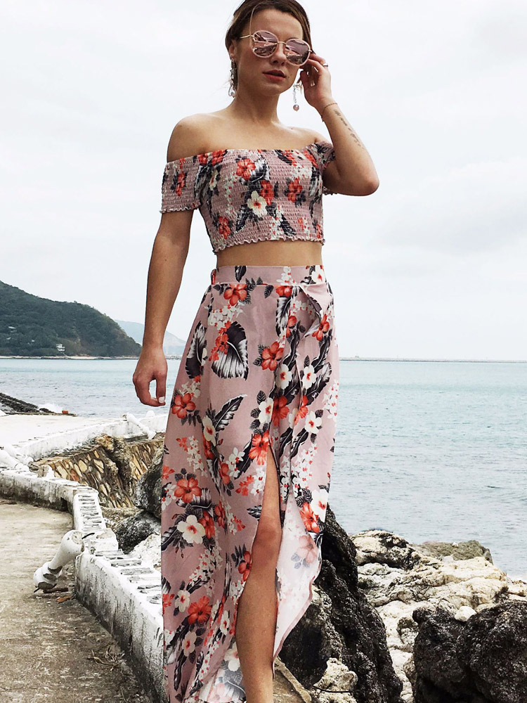 ZISION Off Shoulder Top And Floral Dress Set