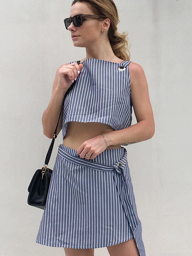 ZISION Backless Top And Striped Skirt Set