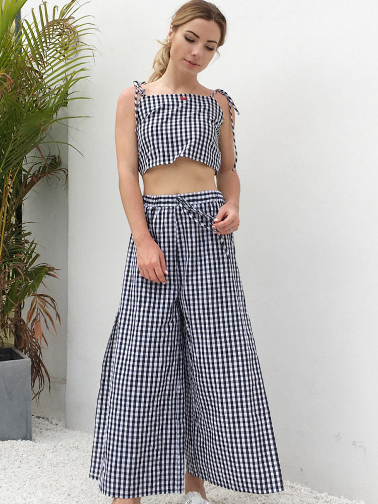 ZISION Plaid Top And Split Pants Set