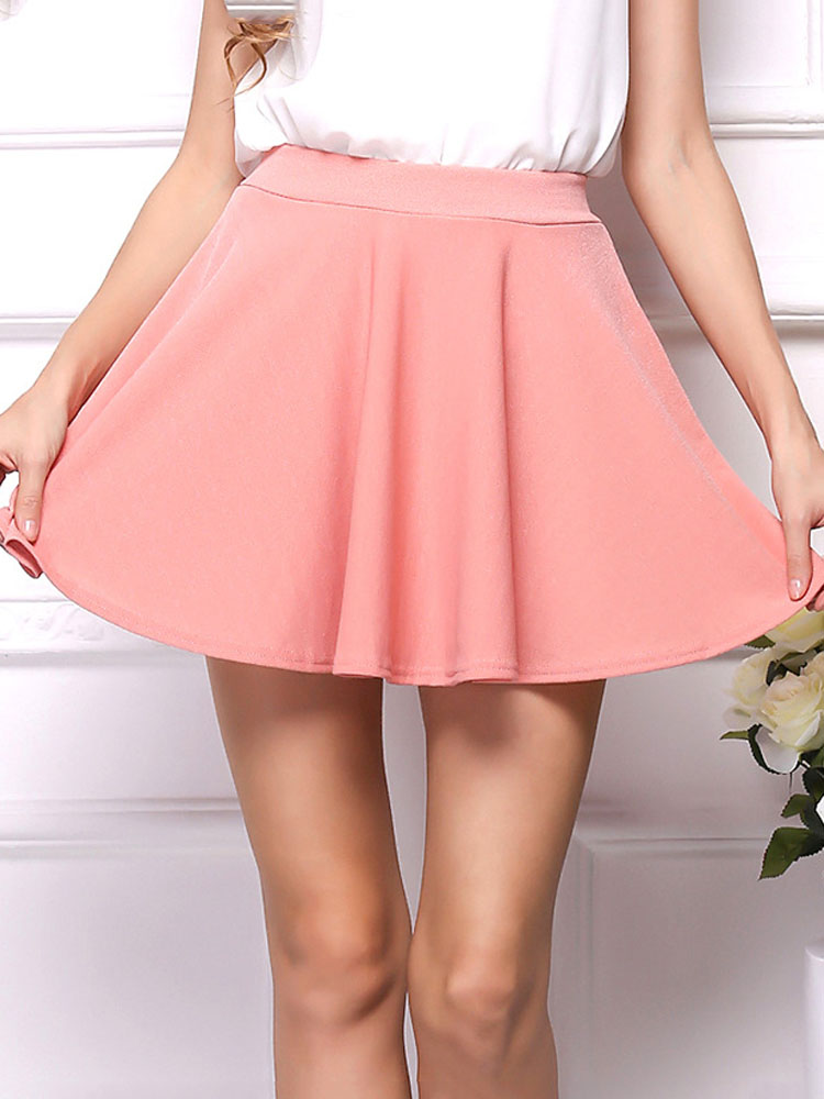ZISION Solid Ruffles Mini Skirt
