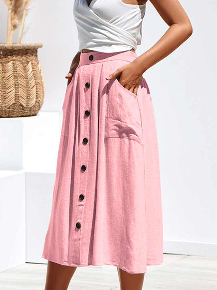 ZISION Button Up Pockets Midi Skirt