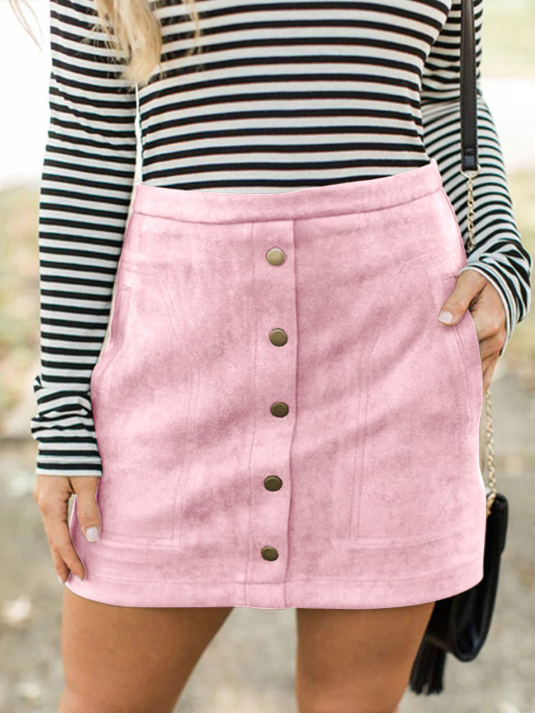 ZISION Button Up Pockets Mini Skirt
