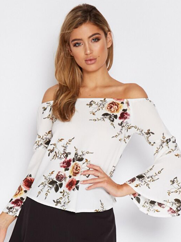 ZISION Floral Flare Sleeve Top