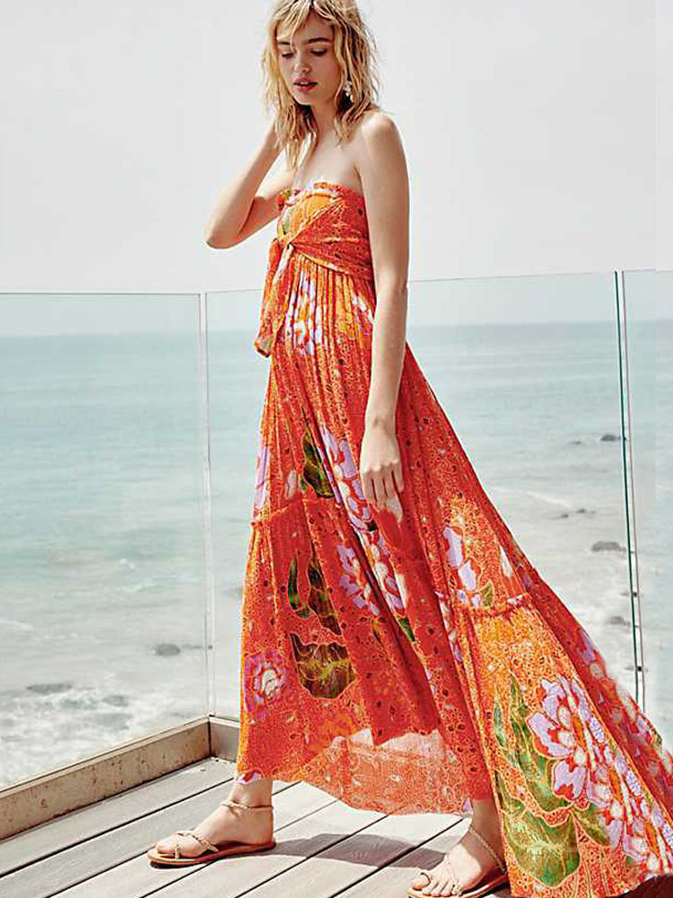 ZISION Off Shoulder Floral Maxi Dresses