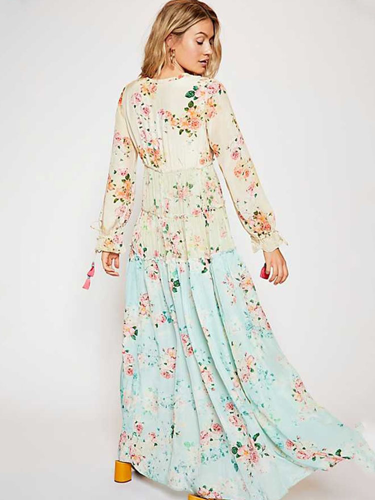 ZISION Long Sleeves Floral Maxi Dresses