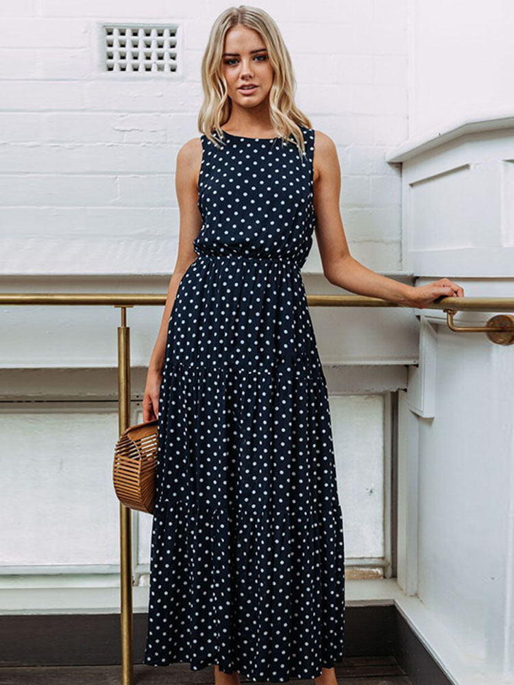 ZISION Poka Dot Sleeveless Maxi Dresses