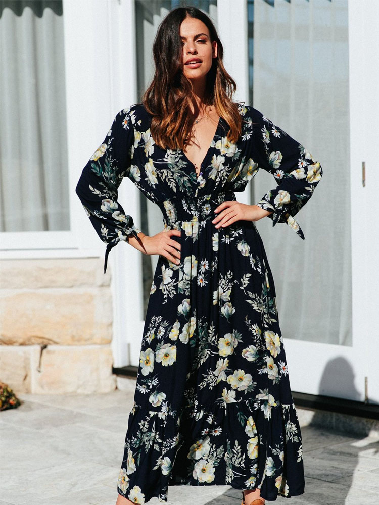 ZISION Button V-Collar Maxi Dresses