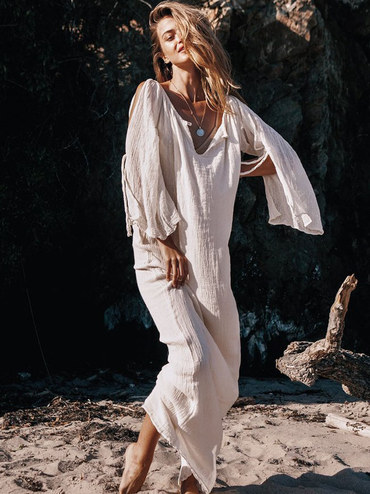 ZISION Bohemian Solid Maxi Dresses