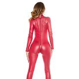 Varnished Leather Long Jumpsuit