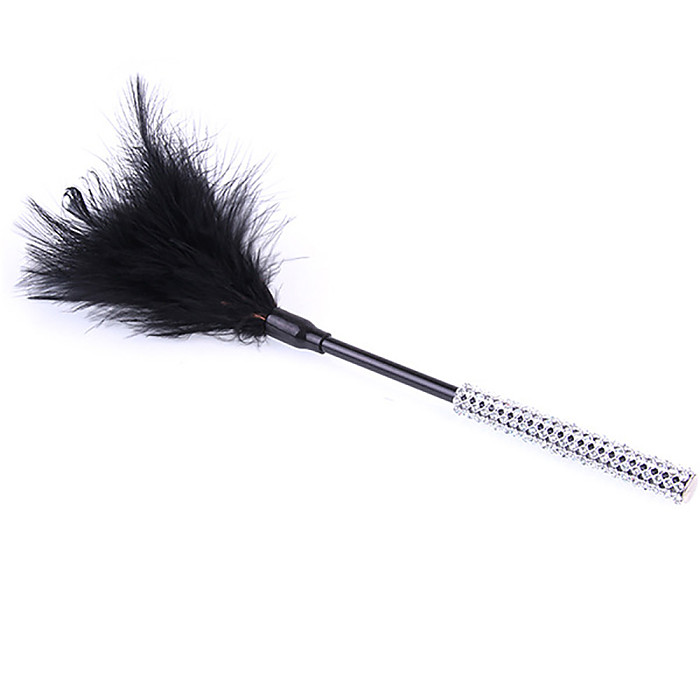 Alternative Couple Flirting Around A Small Feather Whip